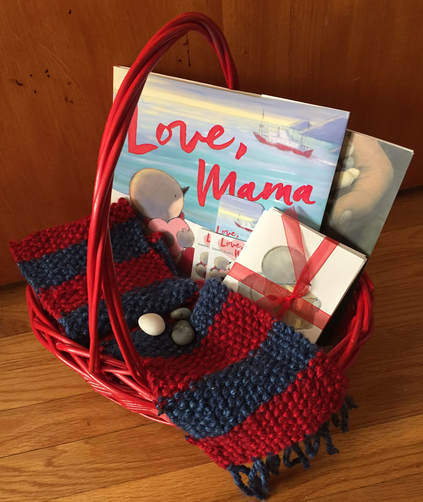 gift basket with LOVE, MAMA book